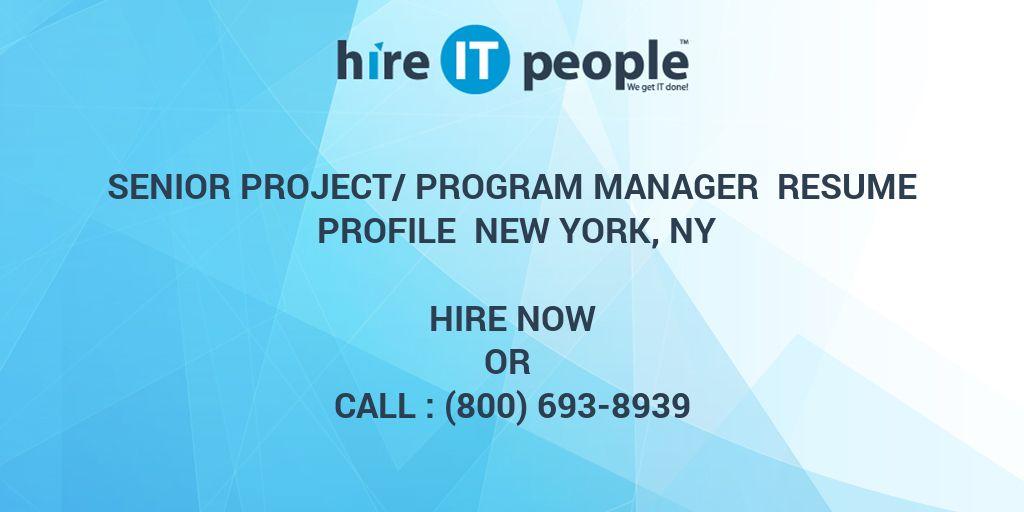 senior project  program manager resume profile new york  ny