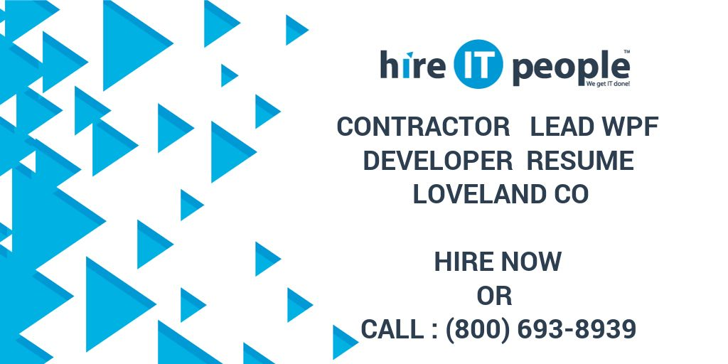 contractor lead wpf developer resume loveland co hire it