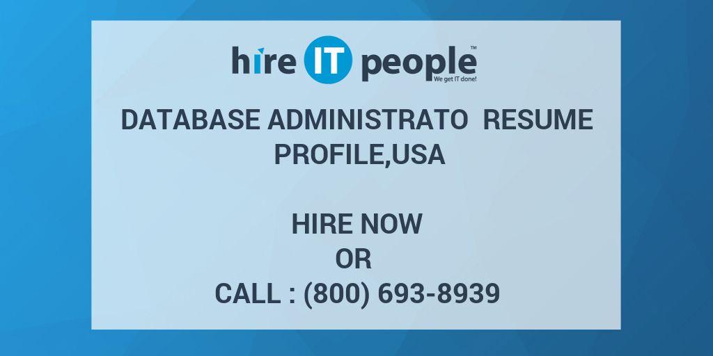 database administrato resume profile usa