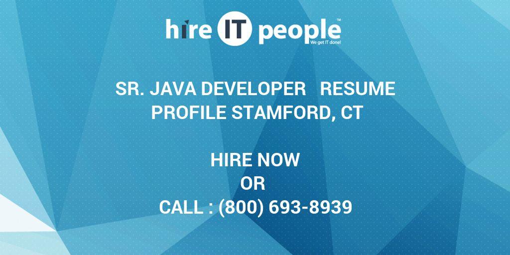 Sr Java Developer Resume Profile Stamford CT