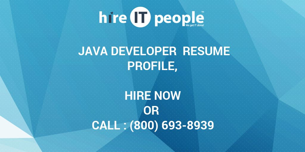 java developer resume profile  - hire it people