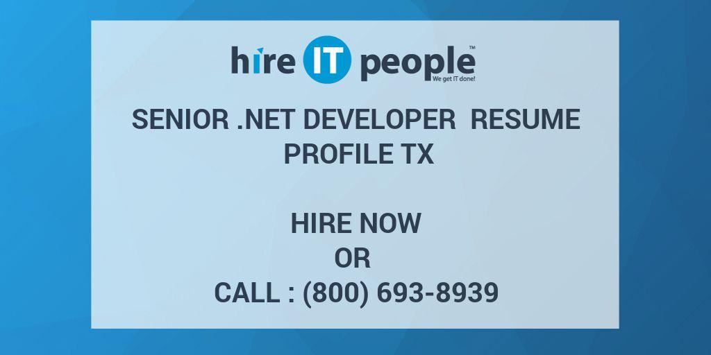 Senior  NET Developer Resume Profile TX - Hire IT People