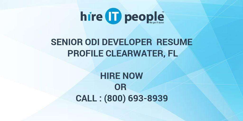 senior odi developer resume profile clearwater fl hire it
