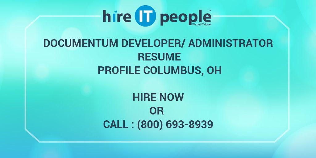 Documentum Developer Administrator Resume Profile Columbus