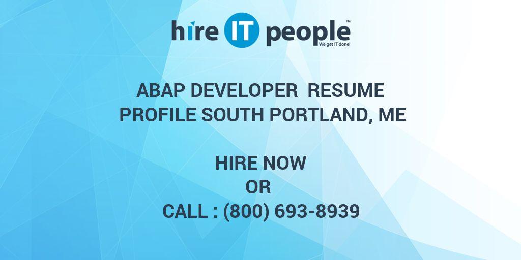 Abap Developer Resume Profile South Portland Me Hire It