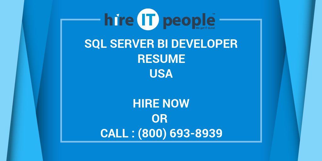sql server bi developer resume hire it people we get it done