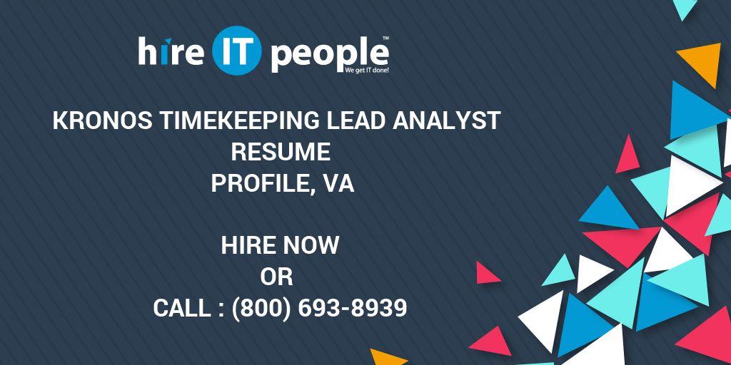 kronos timekeeping lead analyst resume profile va hire it