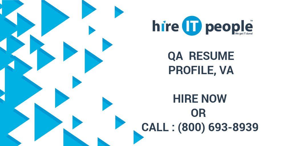 Qa Resume Profile Va Hire It People We Get It Done