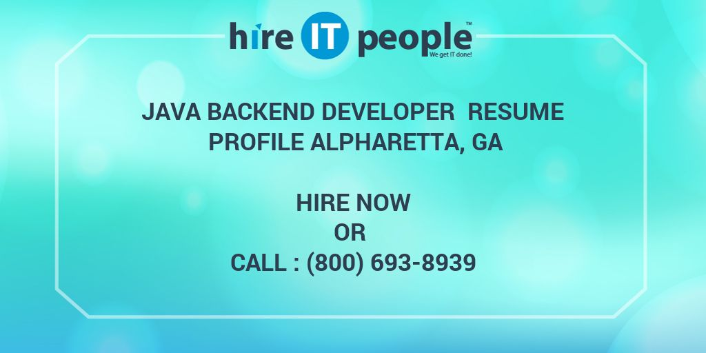 Java Backend Developer Resume Profile Alpharetta GA