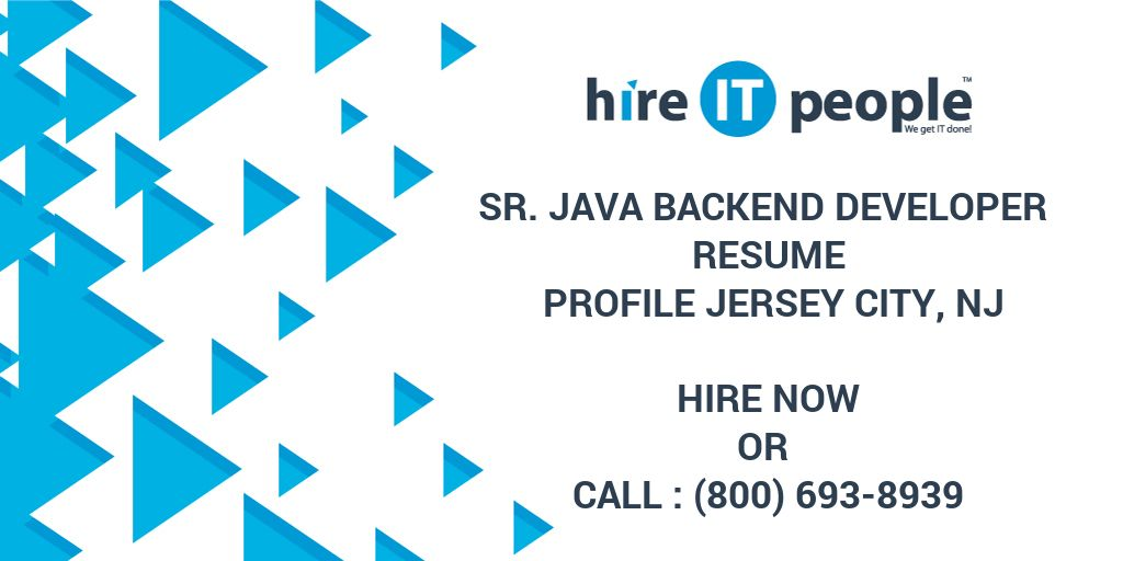 Sr Java Backend Developer Resume Profile Jersey City NJ