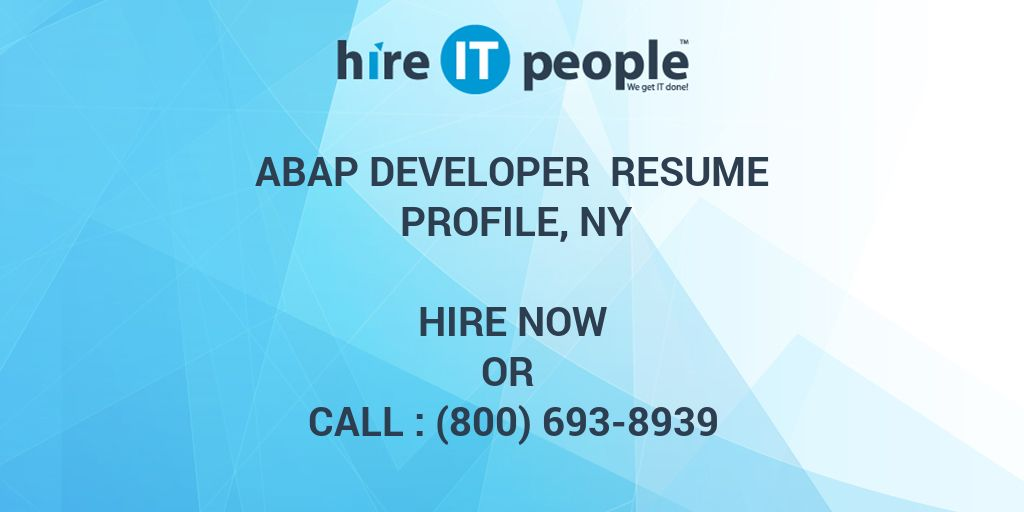 ABAP Developer Resume Profile, NY - Hire IT People - We get IT done