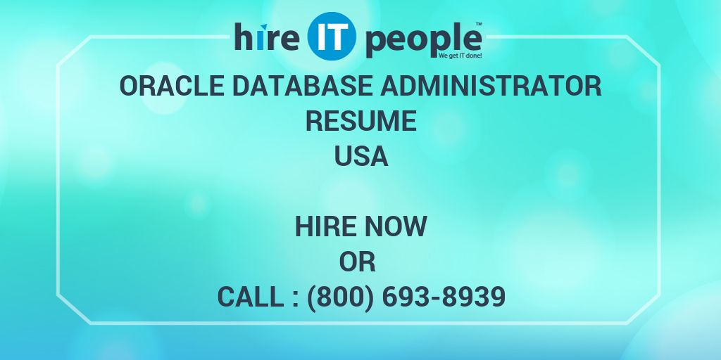 oracle database administrator resume - hire it people