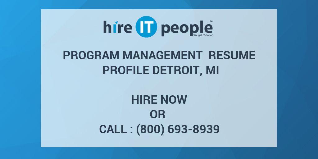 program management resume profile detroit  mi
