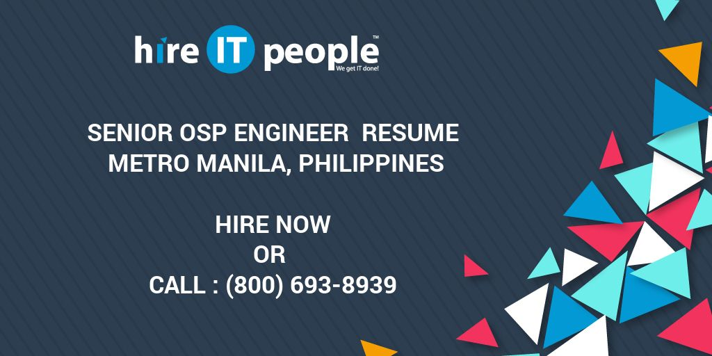 Senior Osp Engineer Resume Metro Manila Philippines Hire