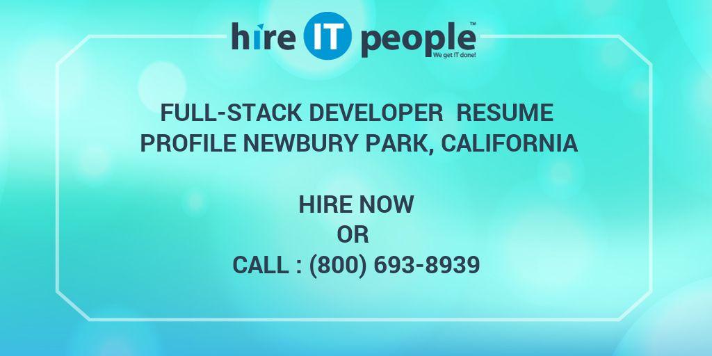 full-stack developer resume profile newbury park  california - hire it people