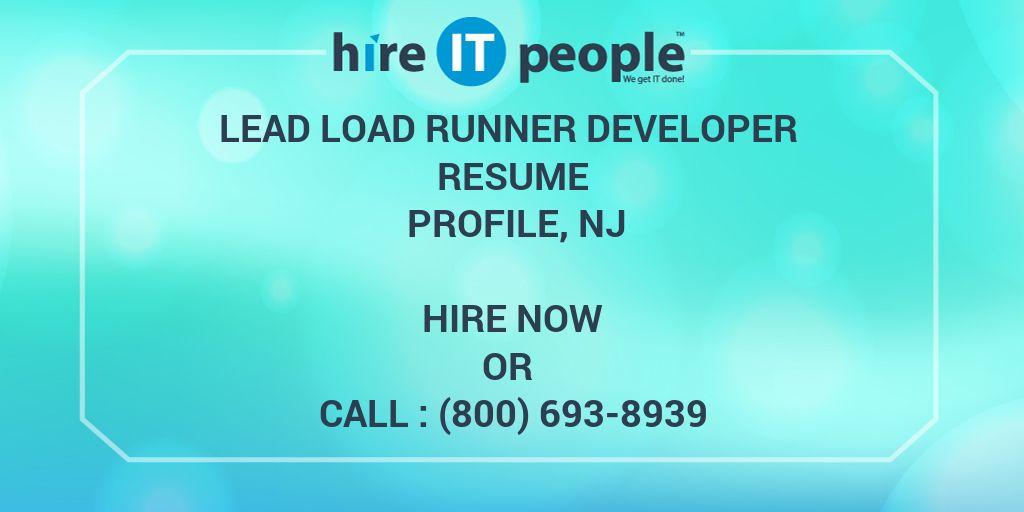 Lead Load Runner Developer Resume Profile NJ
