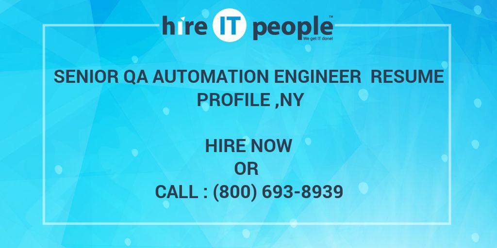 senior qa automation engineer resume profile  ny