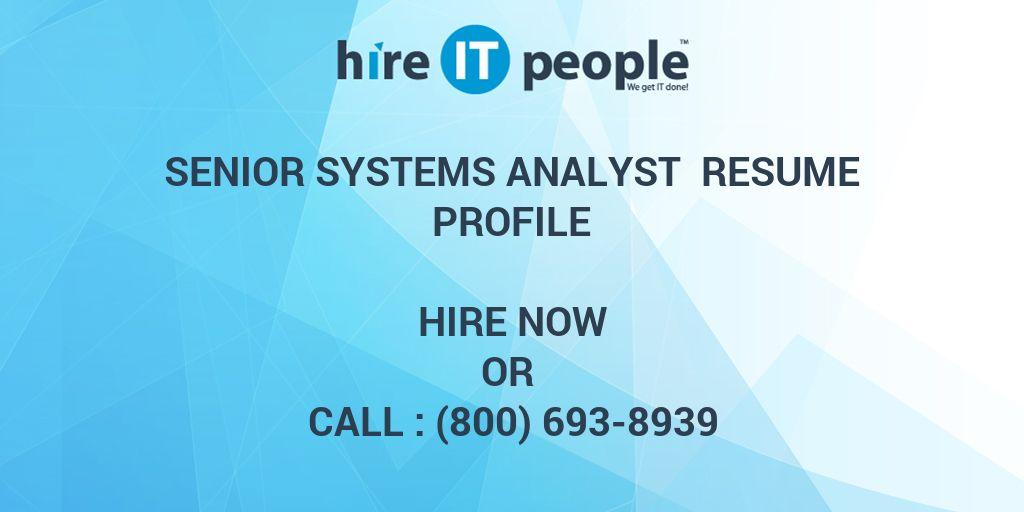 senior systems analyst resumes