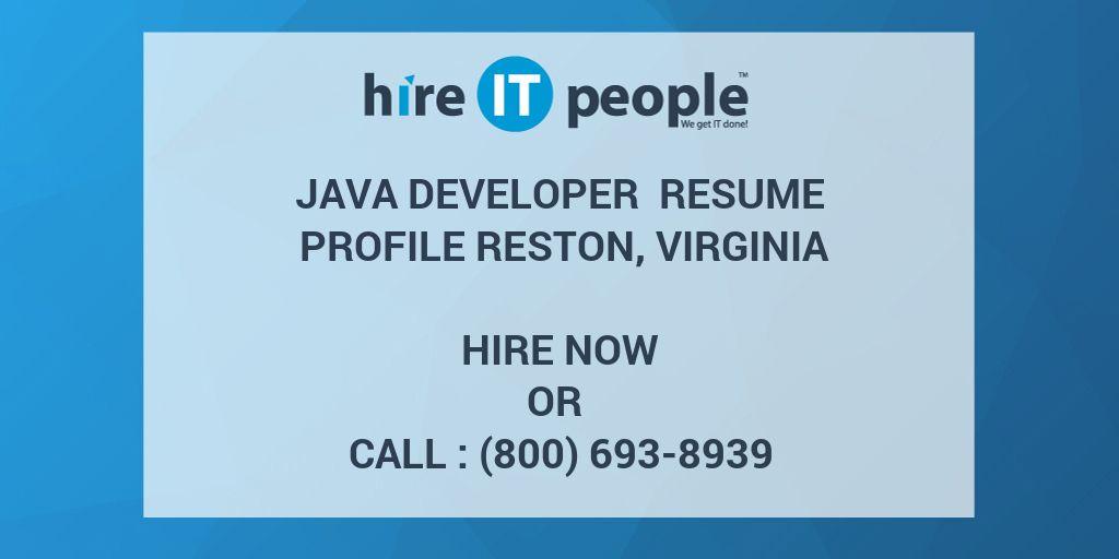 Java developer Resume Profile Reston, Virginia - Hire IT People ...