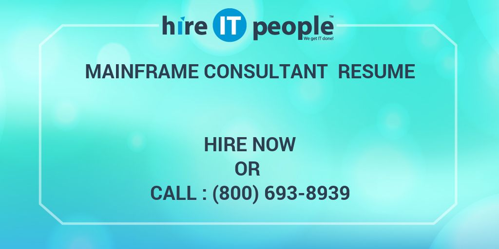 mainframe consultant resume - hire it people