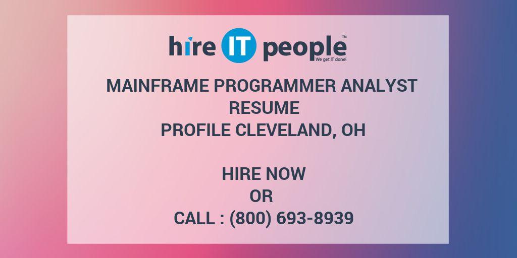 Mainframe Programmer Analyst Resume Profile Cleveland  Oh