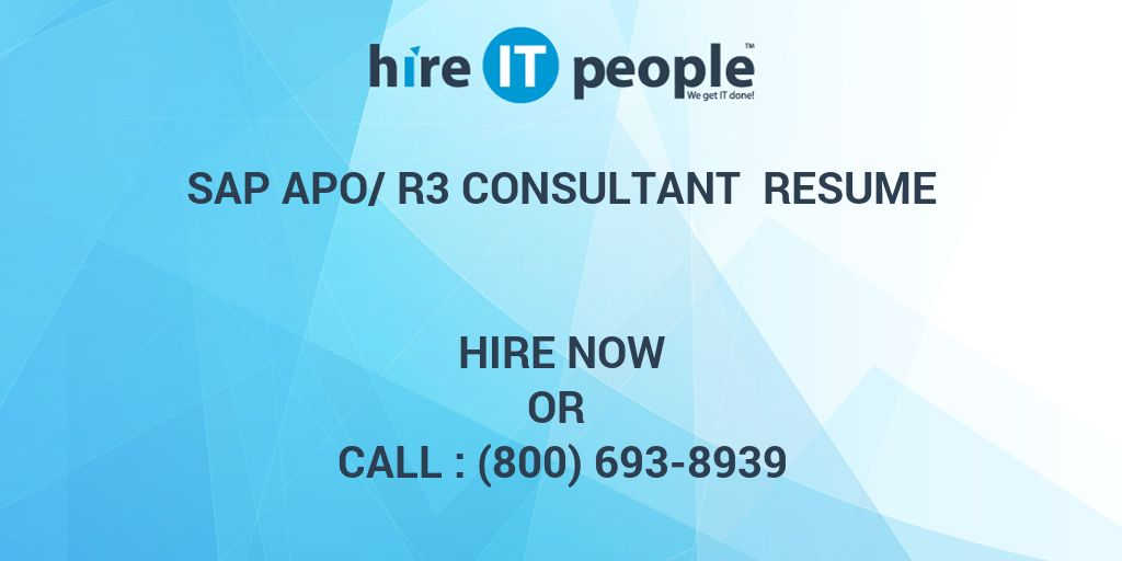 sap apo r3 consultant resume hire it people we get it done