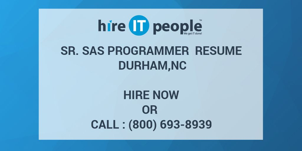 What Are Good Skills To Put On A Resume Word Sr Sas Programmer Resume Durhamnc  Hire It People  We Get It Done Science Teacher Resume Word with High School Student Resume Templates Pdf  Retail Sales Manager Resume Word
