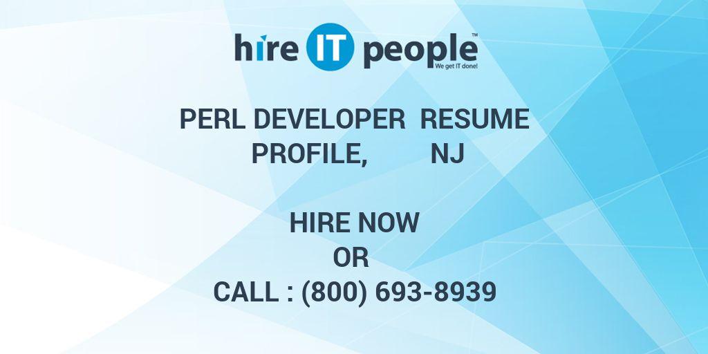 Perl Developer Resume Profile, NJ - Hire IT People - We get IT done