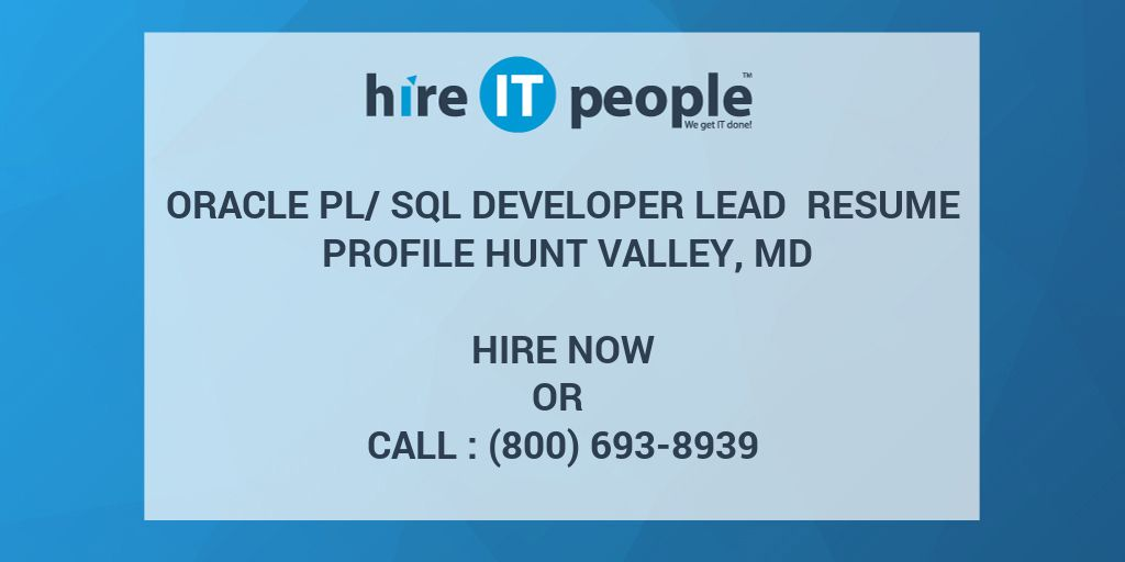 oracle pl  sql developer lead resume profile hunt valley