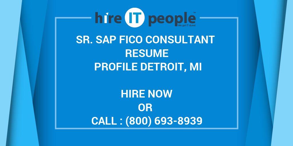 Sr Sap Fico Consultant Resume Profile Detroit Mi Hire