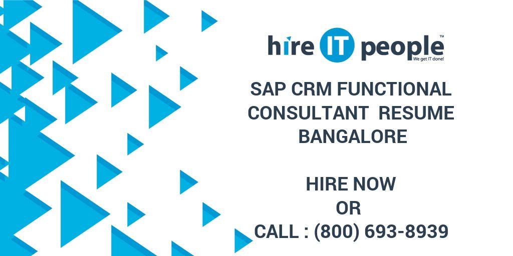 sap crm functional consultant resume bangalore