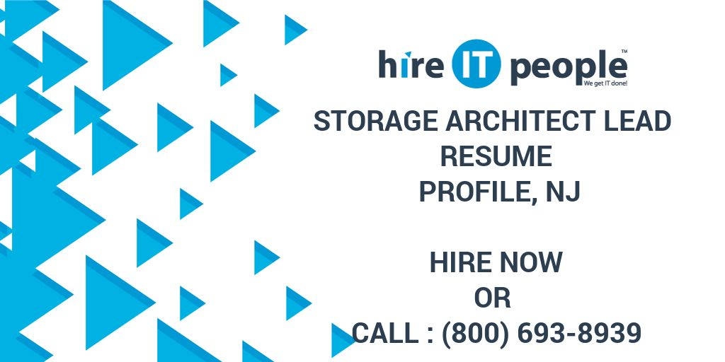Storage Architect Lead Resume Profile NJ Hire IT People