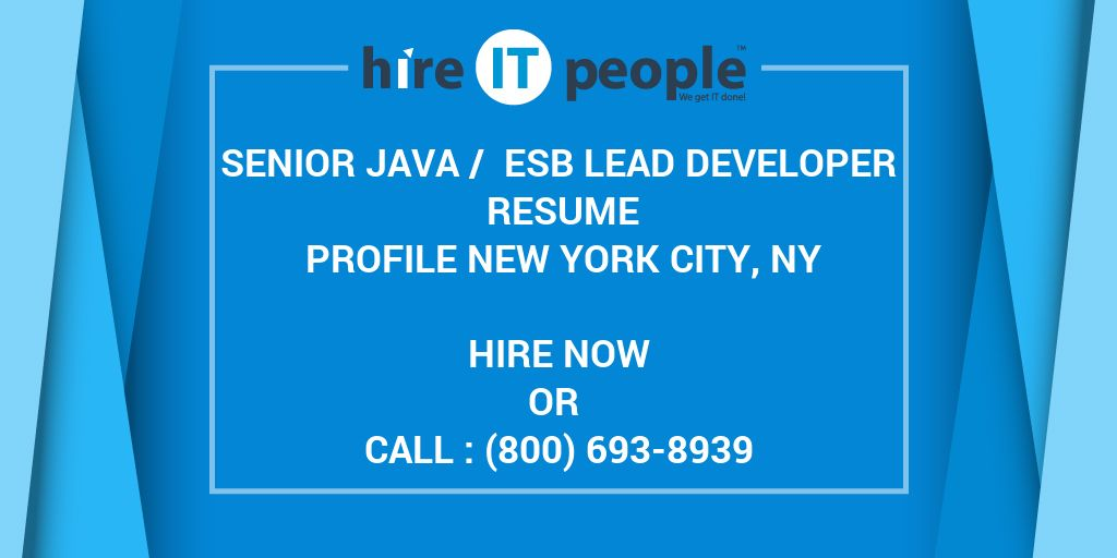 senior java    esb lead developer resume profile new york city  ny - hire it people