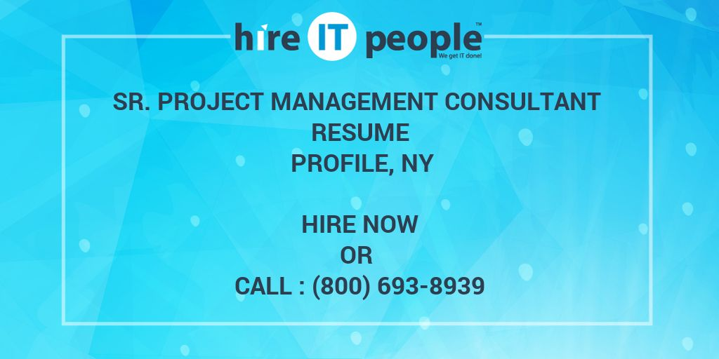 Sr Project Management Consultant Resume Profile Ny