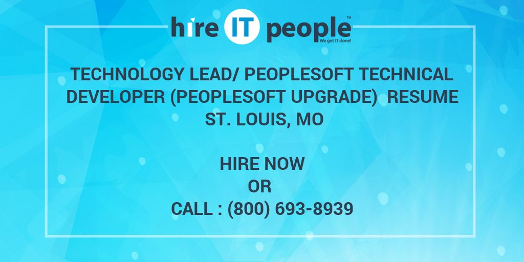 technology lead peoplesoft technical developer peoplesoft