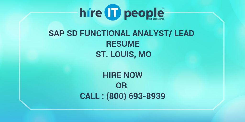 sap sd functional analyst  lead resume st  louis  mo