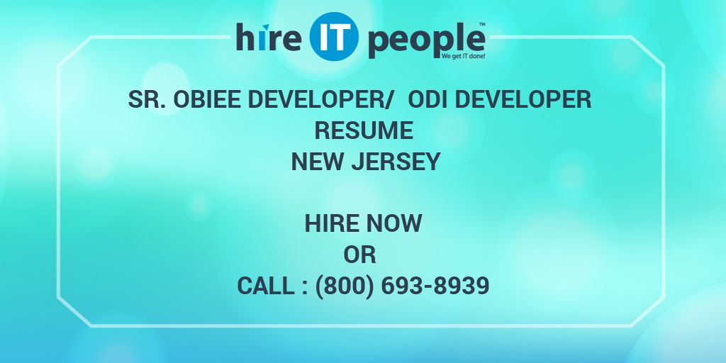 Sr OBIEE Developer ODI Resume New Jersey