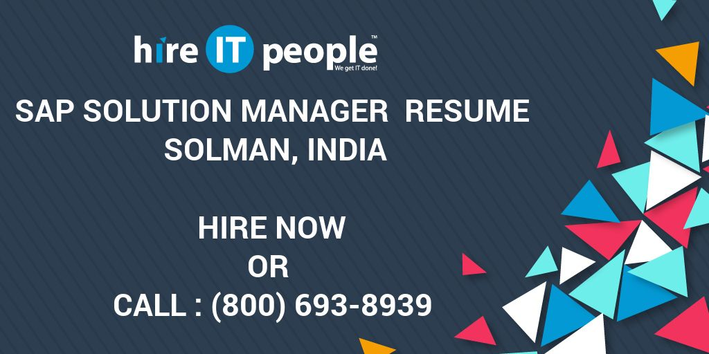 sap solution manager resume solman india hire it