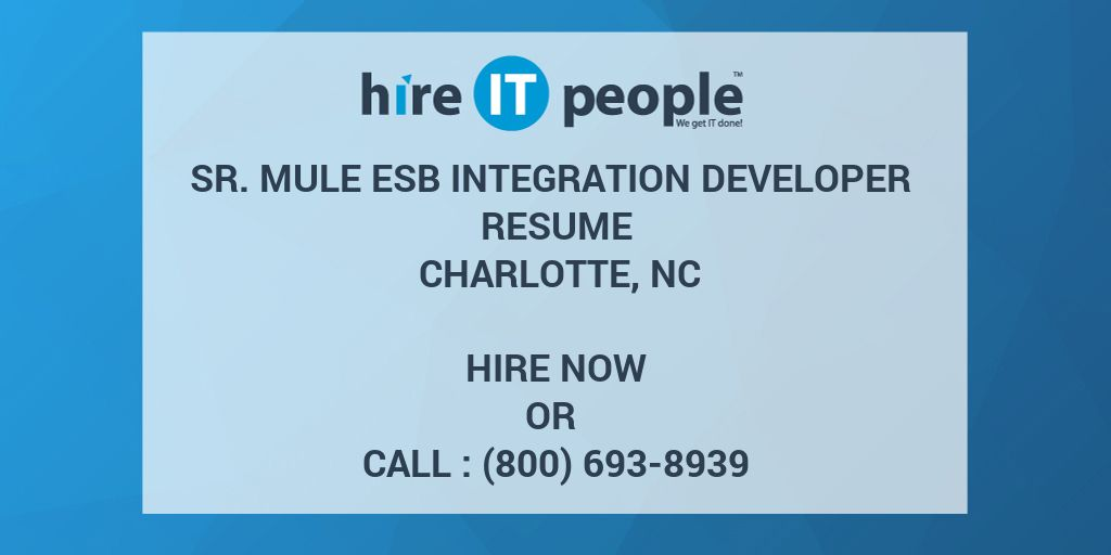 Sr  Mule ESB Integration Developer Resume Charlotte, NC