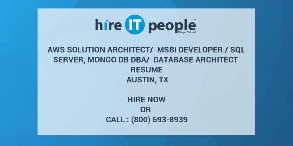 AWS Solution Architect/ MSBI Developer /SQL Server, MONGO DB DBA