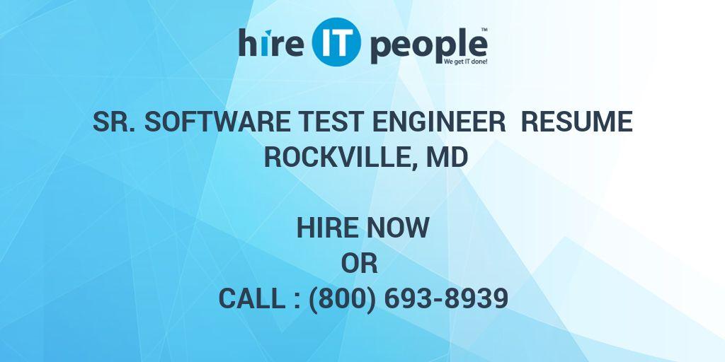 Sr  Software Test Engineer Resume Rockville, MD - Hire IT