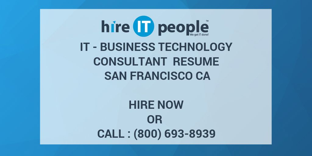 it  business technology consultant resume san francisco