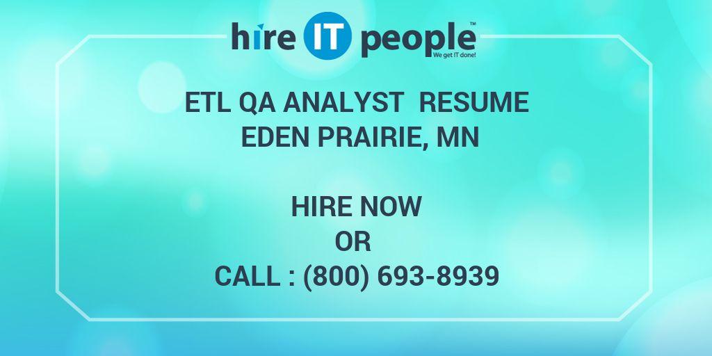ETL QA Analyst Resume Eden Prairie MN