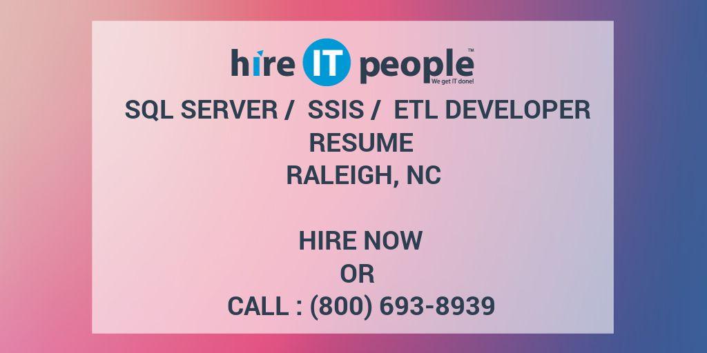 sql server    ssis    etl developer resume raleigh  nc