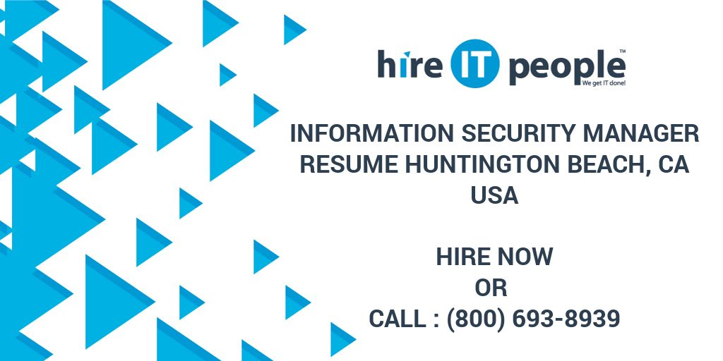 Information Security Manager Resume Huntington Beach CA