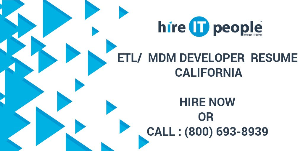 ETL MDM Developer Resume California