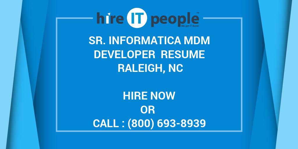 Sr Informatica MDM Developer Resume Raleigh NC