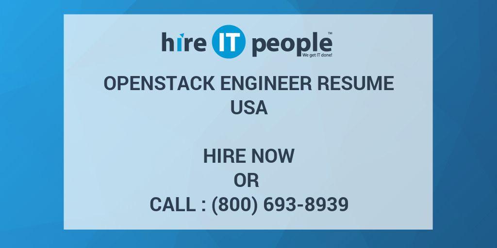 Openstack Engineer Resume - Hire IT People - We get IT done