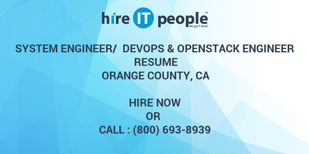 System Engineer/ Devops & Openstack Engineer Resume Orange