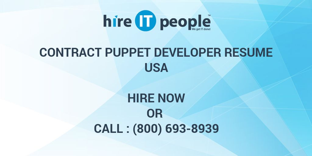Contract Puppet Developer Resume Hire It People We Get It Done